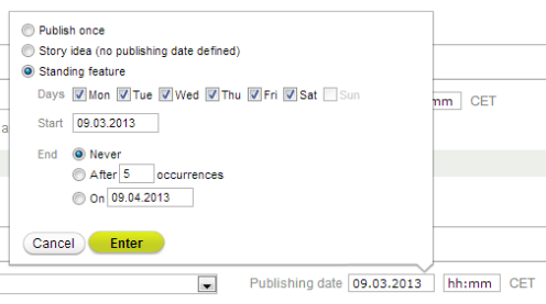 New publication date layer featuring the Standing Feature option