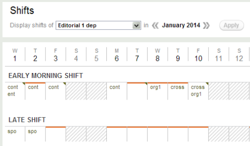dn Editorial shift management with Desk-Net - screenshot 2014-01-24